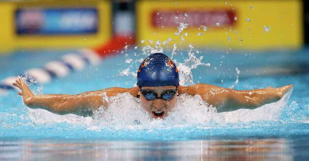 Ariana Kukors swims in the women's 200-meter individual medley preliminaries at the U.S. Olympic swimming trials on Wednesday, June 27, 2012, in Omaha, Neb. (AP Photo/Mark Humphrey) Photo: Associated Press