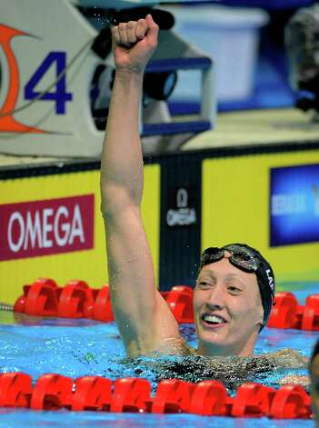Breeja Larson celebrates after winning the women's 100-meter breaststroke final at the U.S. Olympic swimming trials, Wednesday, June 27, 2012, in Omaha, Neb. (AP Photo/Mark J. Terrill) Photo: Associated Press