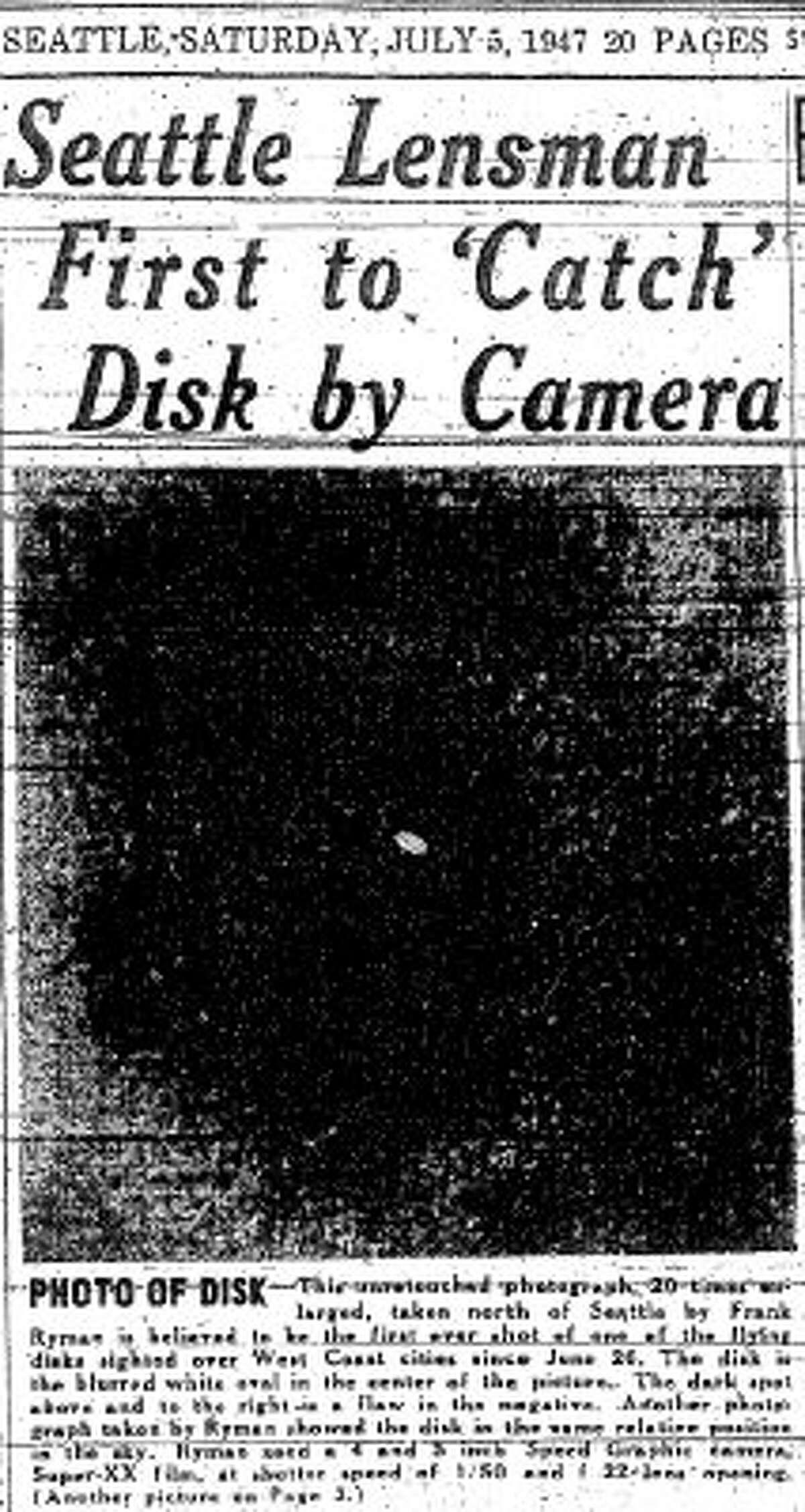 A July 5, 1947 story about a UFO in Lake City. (seattlepi.com file)