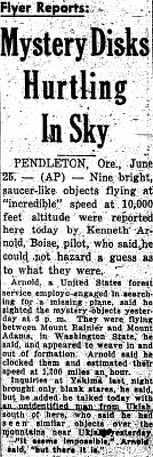 The June 26, 1947 P-I story about Kenneth Arnold's sighting. (seattlepi.com file)