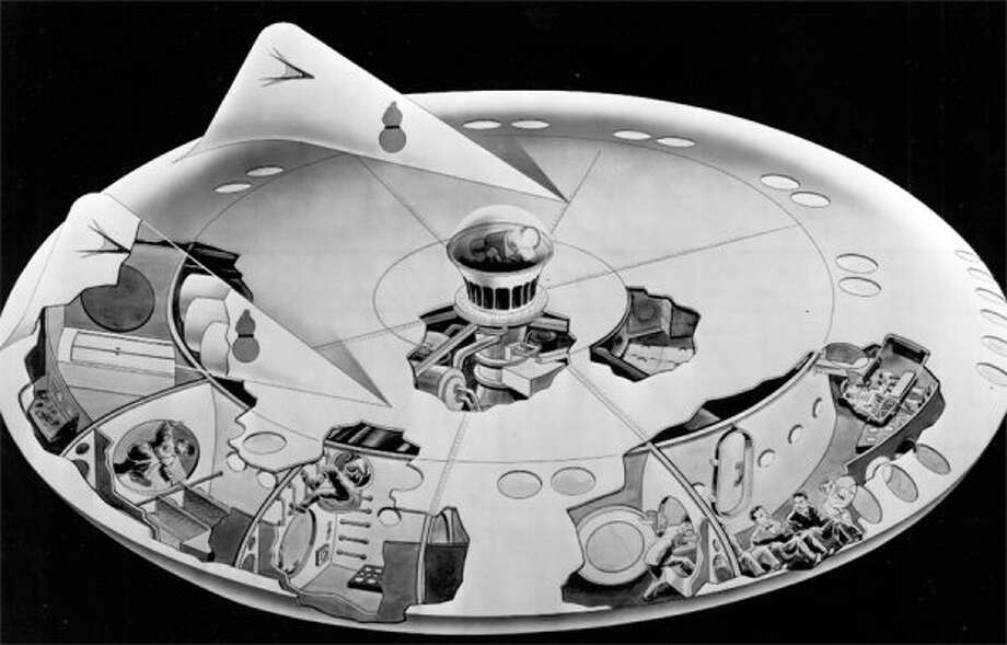 A March 1957 drawing from Chrysler of what the inside of a flying saucer might look like. (seattlepi.com file)