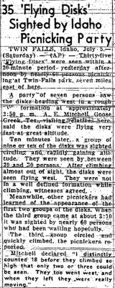 A July 5, 1947 P-I story about a UFOs in Idaho. (seattlepi.com file)