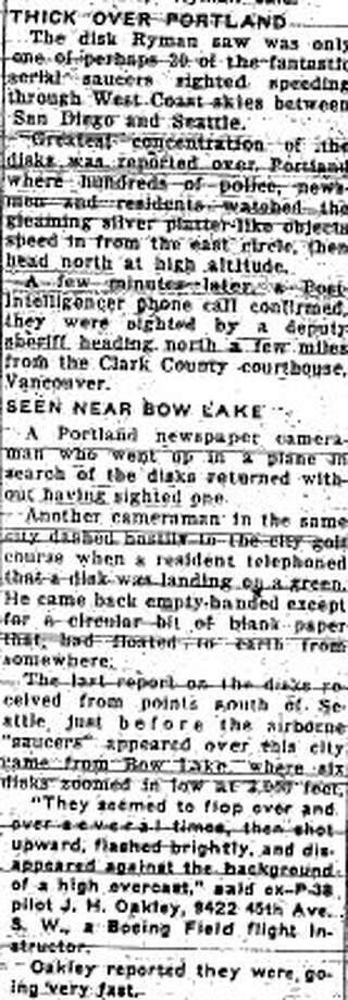 More of the July 5, 1947 P-I story about a UFO in Lake City. (seattlepi.com file)