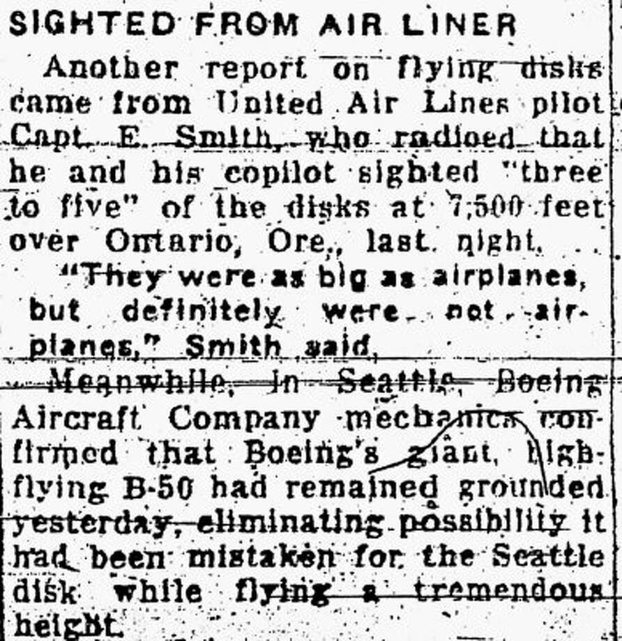 Another July 5, 1947 story about a UFOs. (seattlepi.com file)
