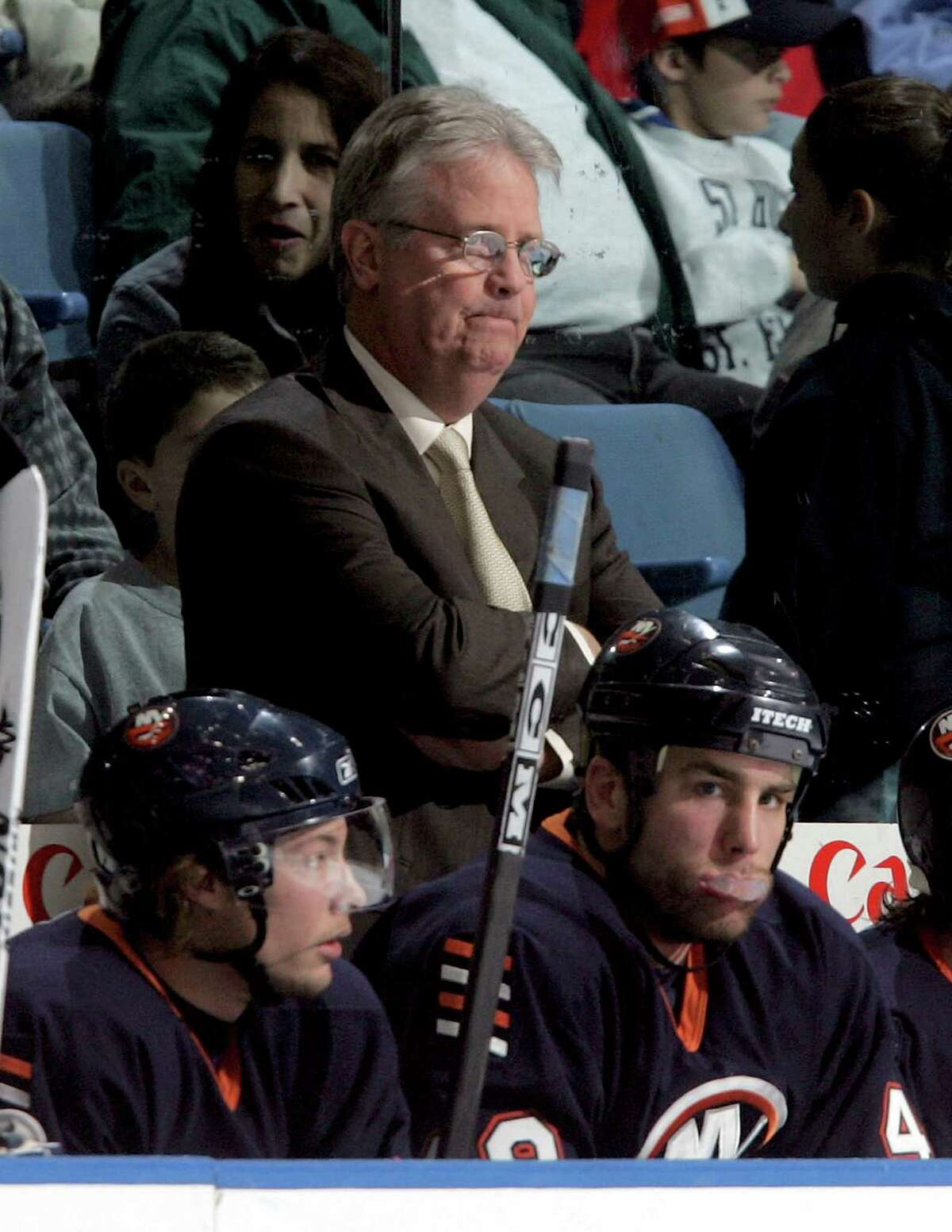 UNIONDALE, NY - NOVEMBER 25: Head coach Steve Stirling of the New York Islanders looks on during the game against the Ottawa Senators on November 25, 2005 at Nassau Coliseum in Uniondale, New York. The Sens defeated the Isles 6-2. (Photo by Jim McIsaac/Getty Images)