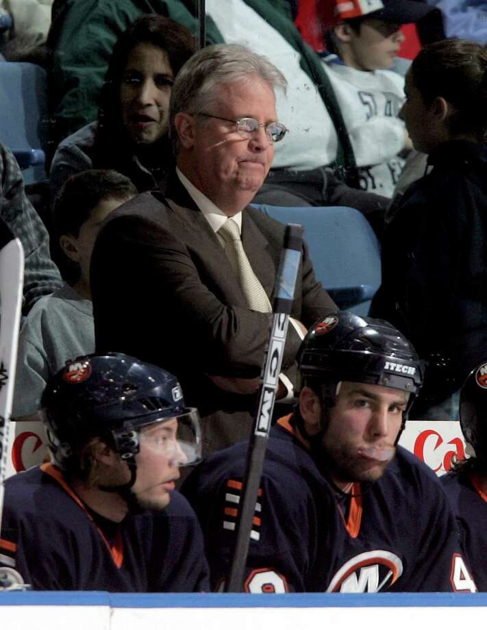 UNIONDALE, NY - NOVEMBER 25:  Head coach Steve Stirling of the New York Islanders looks on during the game against the Ottawa Senators on November 25, 2005 at Nassau Coliseum in Uniondale, New York. The Sens defeated the Isles 6-2.  (Photo by Jim McIsaac/Getty Images) Photo: Jim McIsaac, Getty Images / 2005 Getty Images