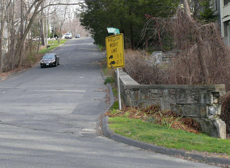 Replacement of the Merritt Street bridge over Horse Brook Tavern could begin and early as next week, and construction is expected to take about a year, officials said.. Photo: Genevieve Reilly, File Photo / Fairfield Citizen