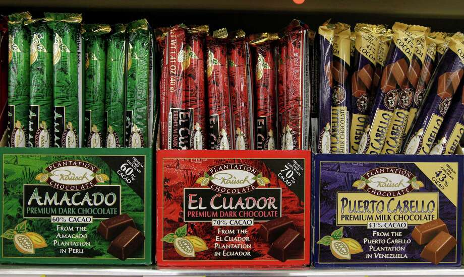 A selection of chocolates from Peru, Ecuador and Venezuela at the new Fiesta grocery store at Westheimer and Dairy Ashford Monday, June 25, 2012, in Houston. Photo: James Nielsen, Chronicle / © Houston Chronicle 2012