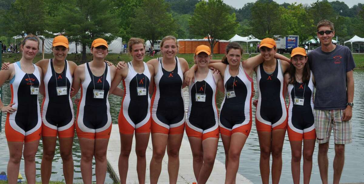The team from Albany Rowing Center made their third consecutive appearance at nationals and placed 15th in the nation in the Women's Youth 8+ event. Pictured from left are Junior Hanora Tracey (Doane Stewart), Seniors Jane Katzer (Bethlehem), Erin Delaney (Bethlehem), Junior Leah May (Colombia), Seniors Erin Corrigan (Bethlehem), Emilie Johnston (Bethlehem), Halli Travers (Guilderland), Kristen Manning (Bethlehem), Abbey Bierman (Bethlehem) and Coach Mike MacMinn.