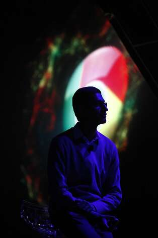 Sundar Pichai, Google senior vice president, Chrome and Apps, is silhouetted against a Chrome logo during the keynote at the Google I/O conference at Moscone West on Thursday, June 28, 2012 in San Francisco, Calif. Photo: Lea Suzuki, The Chronicle