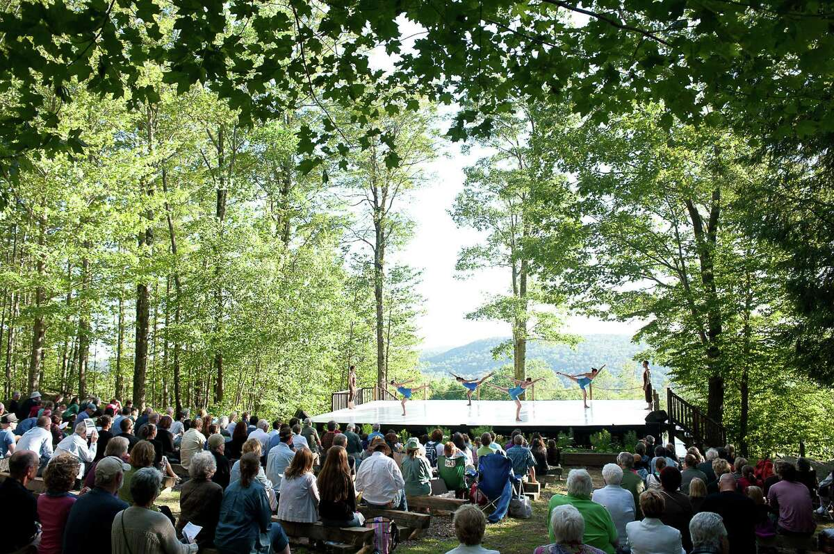 A dance troupe performs at the free Inside/Out stage in 2010 at Jacob's Pillow in Becket, Mass. (photo Christopher Duggan)