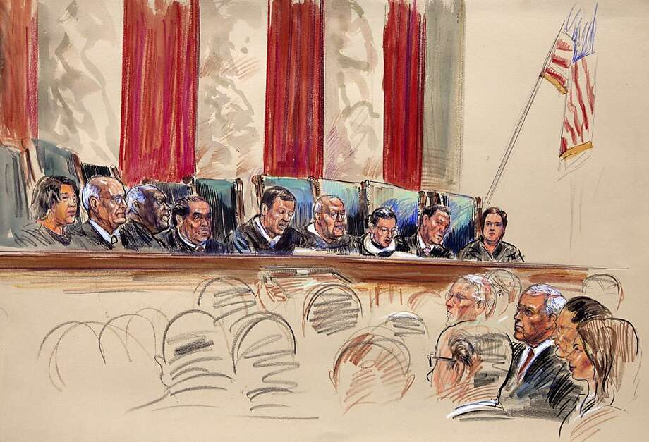This artist rendering shows Chief Justice John Roberts, center, speaking at the Supreme Court in Washington, Thursday, June 28, 2012. From left are, Justices Sonia Sotomayor, Stephen Breyer, Clarence Thomas, Antonin Scalia, Roberts, Anthony Kennedy, Ruth Bader Ginsburg, and Elena Kagan. (AP Photo/Dana Verkouteren) Photo: Dana Verkouteren, Associated Press