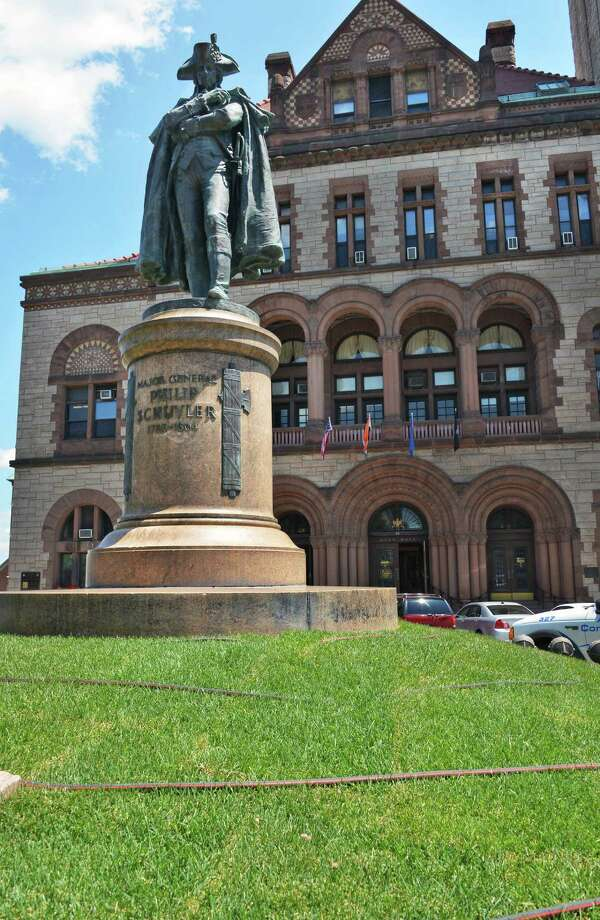 New grass surrounds the statue of of Gen. Philip Schuyler in front of Albany City Hall Thursday June 28, 2012.   (John Carl D'Annibale / Times Union) Photo: John Carl D'Annibale