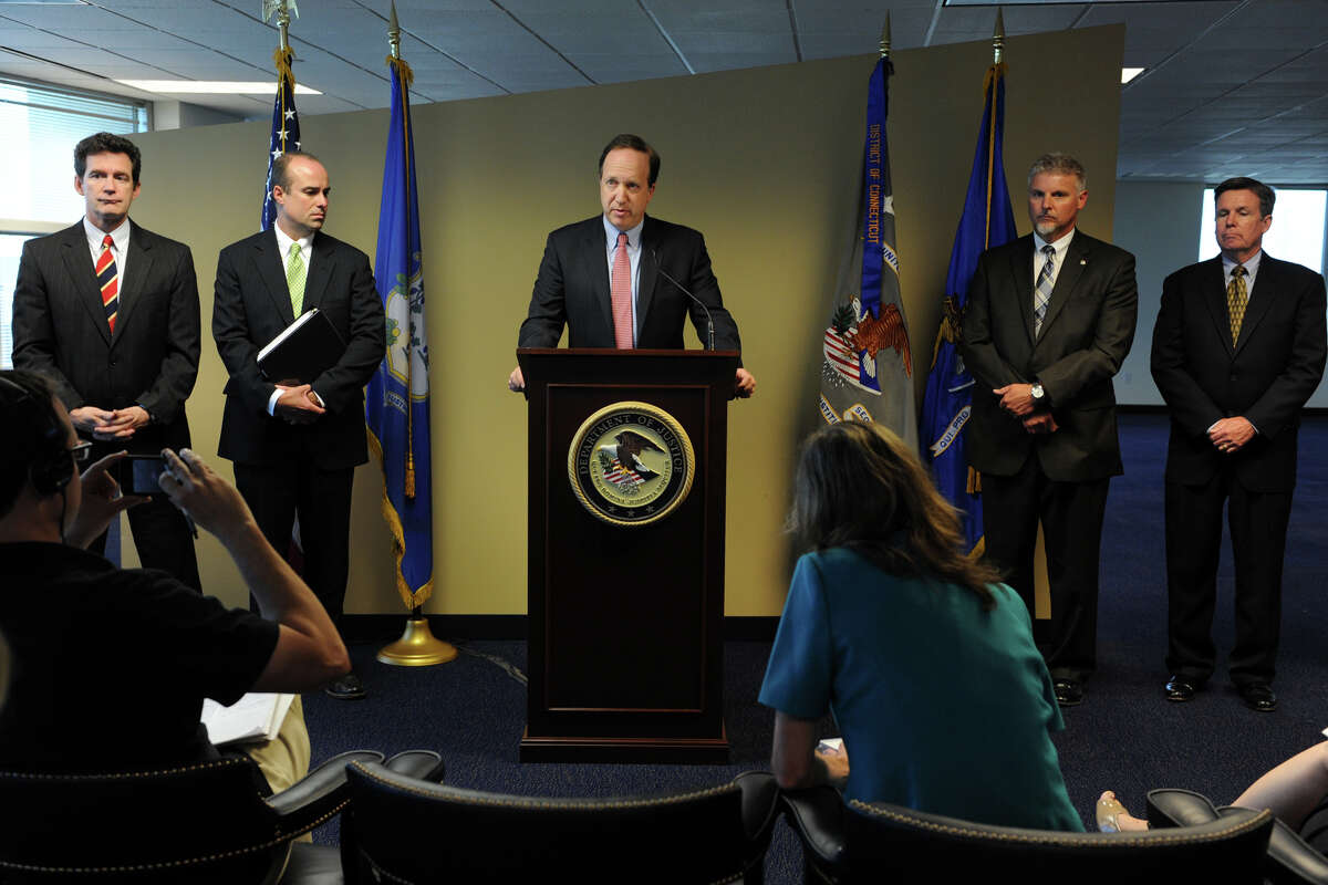 U.S. Attorney David B. Fein speaks at a press conference in Bridgeport, Conn., June 28th, 2012, where he announced that Pratt & Whitney Canada Corp., a Canadian subsidiary of Connecticut based United Technologies Corporation, pleaded guilty to violating the Arms Export Control Act and making false statements in connection with the illegal export to China of military software that lead to the development of ChinaâÄôs first modern military attack helicopter, the Z-10. (Connecticut Post/Ned Gerard)