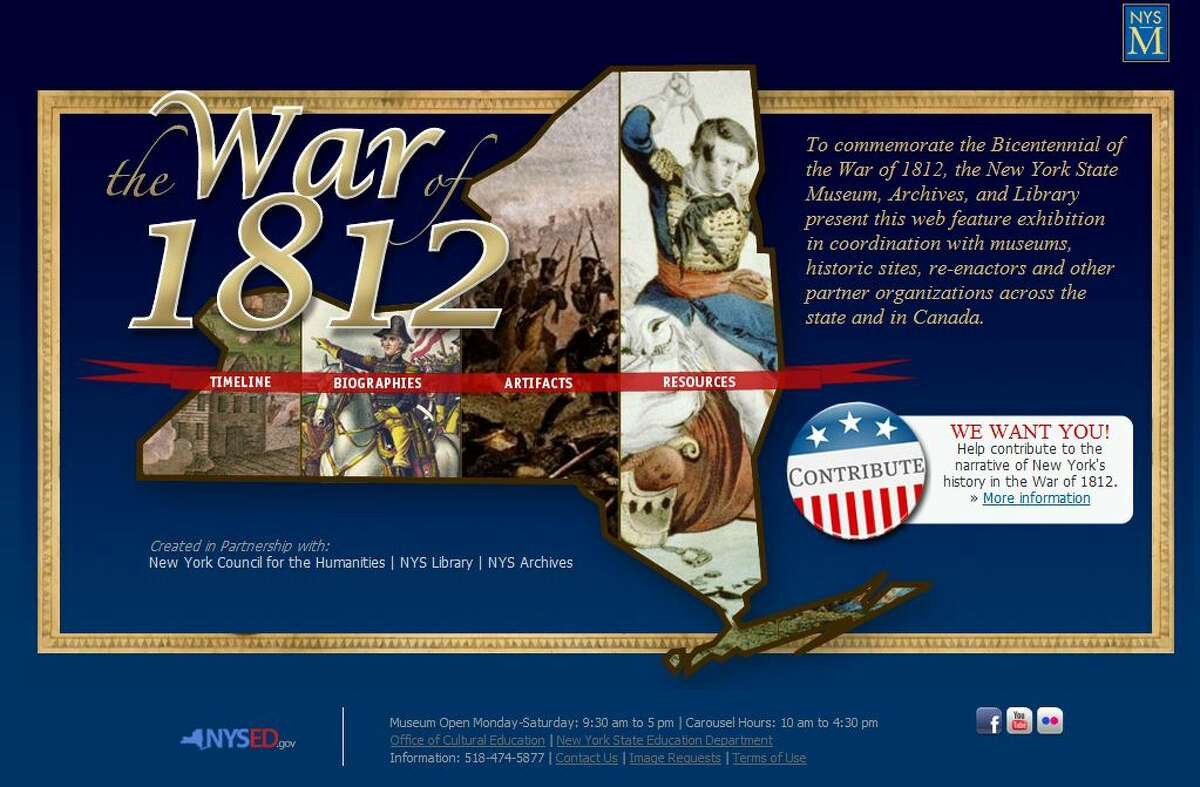 A screengrab of the State Museum's new website for the War of 1812 at http://www.nysm.nysed.gov/Warof1812 (Times Union)