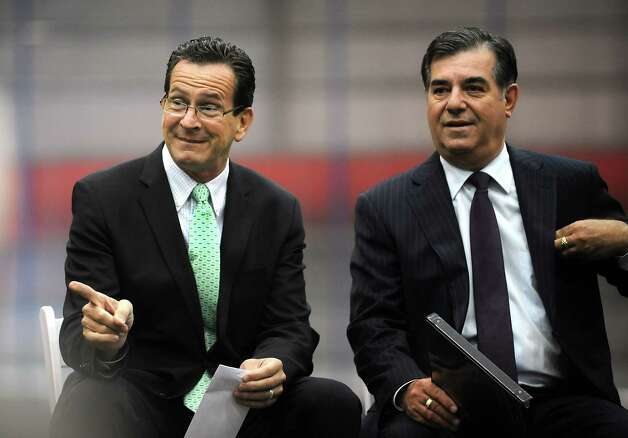 Gov. Dannel P. Malloy and Stamford Mayor Michael Pavia at the Chelsea Piers Connecticut ceremonial ribbon cutting at the Blachley Road campus in Stamford, Conn. on Thursday June 28, 2012. Photo: Cathy Zuraw / Stamford Advocate