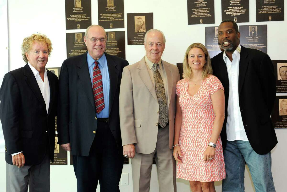 Tom Penders, of Stratford, representing his father Jim Penders; David Strong, of Monroe; Ed Finnegan, of Stratford; Sue Merz, of Greenwich; and Wes Matthews, of Bridgeport; were announced as the six inductees into the Fairfield County Sports Hall of Fame at the University of Connecticut in Stamford Thursday, June 28, 2012.