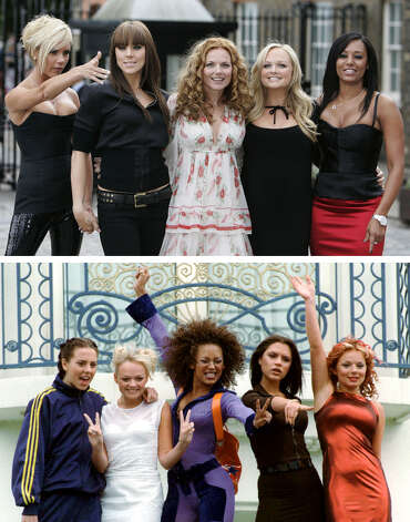 Composite picture of the Spice Girls. Top photo taken on June 28, 2007; bottom photo taken during the Cannes Film Festival, May 11, 1997. Top picture from left, Victoria Beckham, Melanie Chisholm, Geri Halliwell, Emma Bunton and Melanie Brown. Bottom picture from left, Melanie Chisholm, Emma Bunton, Melanie Brown, Victoria Adams and Geri Halliwell. Photo: LEFTERIS PITARAKIS/Remy De La Mauviniere, AP / AP