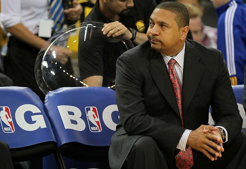 Golden State Warriors' head coach Mark Jackson sits alone on the bench during the 2nd period during their game with the San Antonio Spurs Thursday, April 26, 2012, in Oakland, Calif. The Warriors are the first team in history to start five rookies in a NBA game.