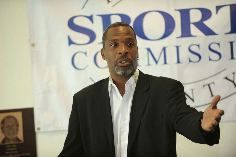 Wes Matthews, of Bridgeport, spoke when he was announced as one of the six inductees into the Fairfield County Sports Hall of Fame at UConn Stamford Thursday, June 28, 2012. Photo: Helen Neafsey / Greenwich Time