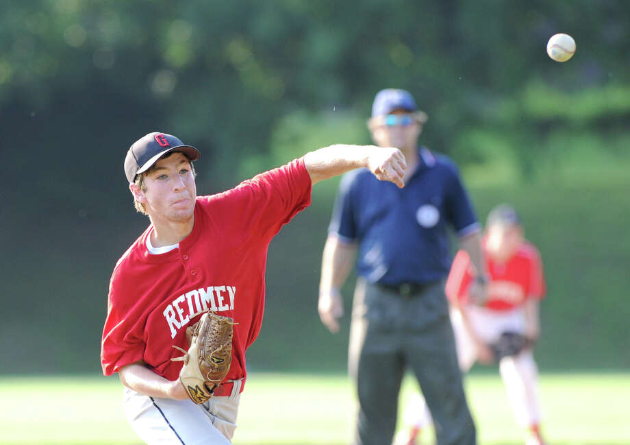 Pitcher Stephen Fisher of the Redmen during the Senior Babe Ruth Playoff game between the Redmen and B.A.N.C. at Havemeyer Field in Greenwich, Thursday night, June 28, 2012. Photo: Bob Luckey / Greenwich Time