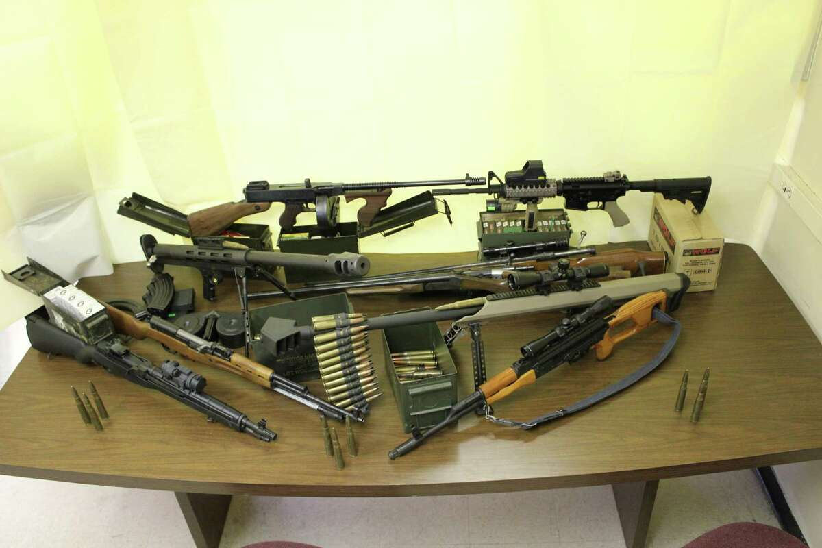 The cache of weapons - ranging from normal hunting weapons to assault-type weapons to two high-powered .50 caliber sniper-type weapons - seized by the Albany County Sheriff's Office from a Coeyman's residence by Albany County Sheriff's Deputies on Thursday, June 28, 2012. (Albany County Sheriff's Office photo)