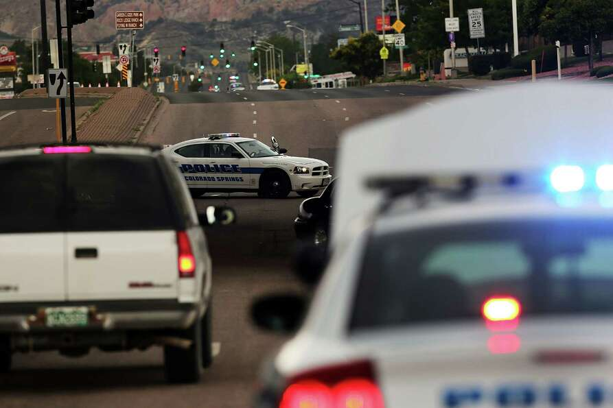 A police road block near the Waldo Canyon fire is viewed on June 28, 2012 in Colorado Springs, Color