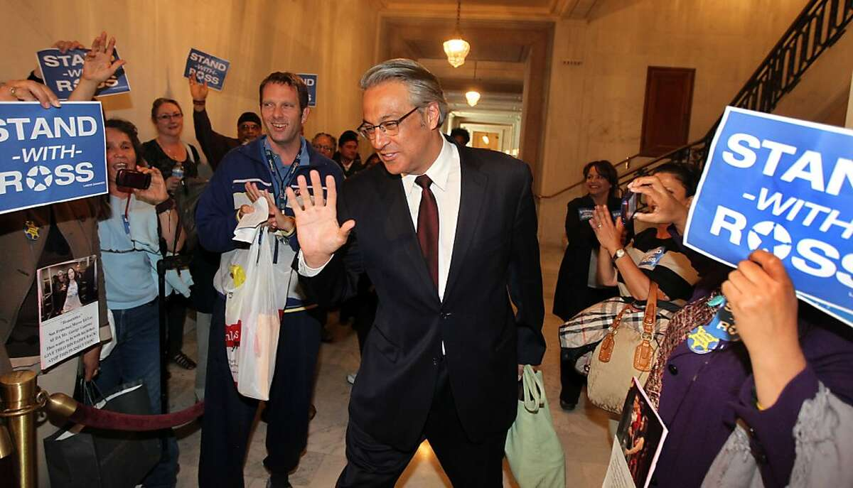 Ross Mirkarimi greets supporters outside the Ethics Commission hearing at San Francisco City Hall on charges of official misconduct pending against Sheriff Ross Mirkarimi Thursday June 28, 2012 in San Francisco Calif.
