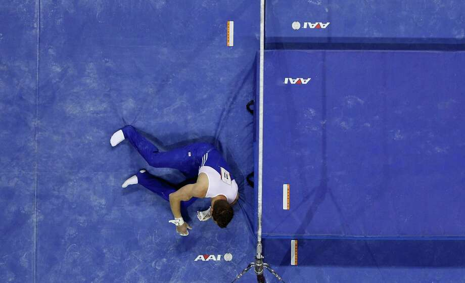 Jonathan Horton gets up after falling on the high bar during day 1 of the 2012 U.S. Olympic Gymnastics Team Trials at HP Pavilion on June 28, 2012 in San Jose, California. Photo: Ezra Shaw, Getty Images / 2012 Getty Images