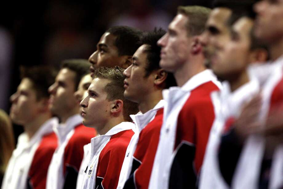 Jonathan Horton stands for the National Anthem before the start of competition during day 1 of the 2012 U.S. Olympic Gymnastics Team Trials at HP Pavilion on June 28, 2012 in San Jose, California. Photo: Ezra Shaw, Getty Images / 2012 Getty Images