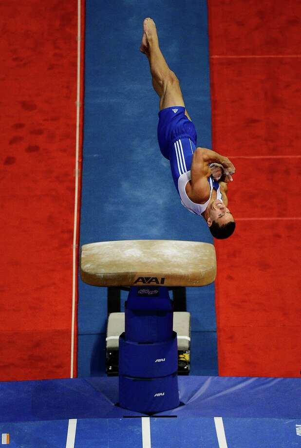 Jake Dalton competes on the vault during day 1 of the 2012 U.S. Olympic Gymnastics Team Trials at HP Pavilion on June 28, 2012 in San Jose, California. Photo: Ronald Martinez, Getty Images / 2012 Getty Images