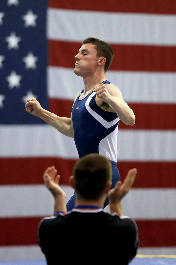Steven Gluckstein reacts after competing in the men's trampoline finals at the U.S. Olympic gymnastics trials in San Jose, Calif., Wednesday, June 27, 2012. Gluckstein won the event. Photo: Jae C. Hong, Associated Press / AP