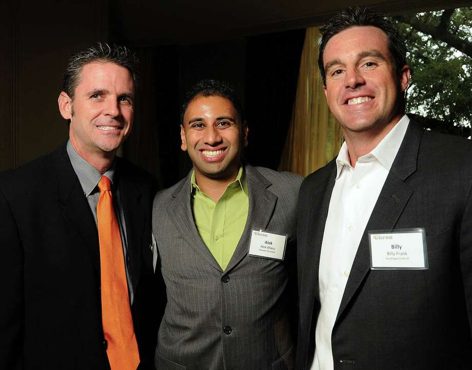 John O'Loughlin, Alok Khera and Billy Frank at the Houston Chronicle's unveiling of the new Chron.com site at a party at the Hotel ZaZa on June 28. Photo: Dave Rossman, For Th Chronicle / © 2012 Dave Rossman