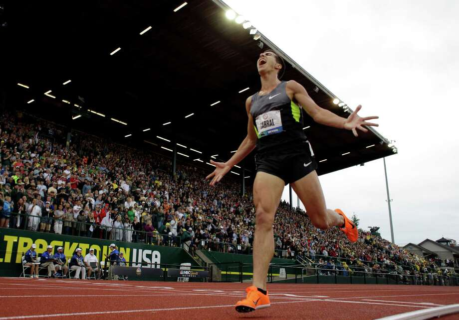 Donald Cabral celebrates second place in the men's 3000 meter steeplechase final at the U.S. Olympic Track and Field Trials Thursday, June 28, 2012, in Eugene, Ore. Photo: Matt Slocum, Associated Press / AP