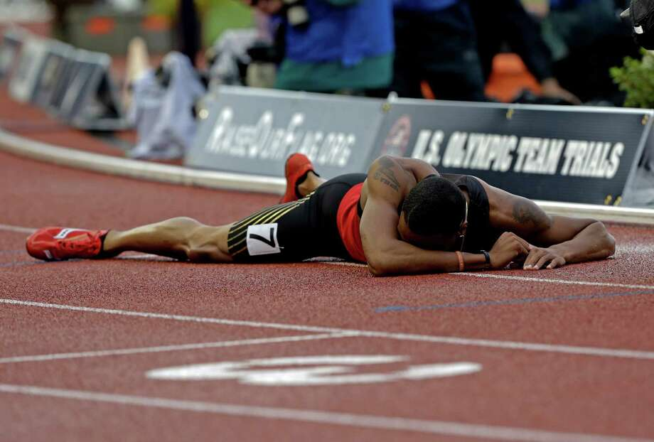Duane Solomon Jr., reacts after the men's 800m finals at the U.S. Olympic Track and Field Trials Monday, June 25, 2012, in Eugene, Ore. Photo: Eric Gay, Associated Press / AP