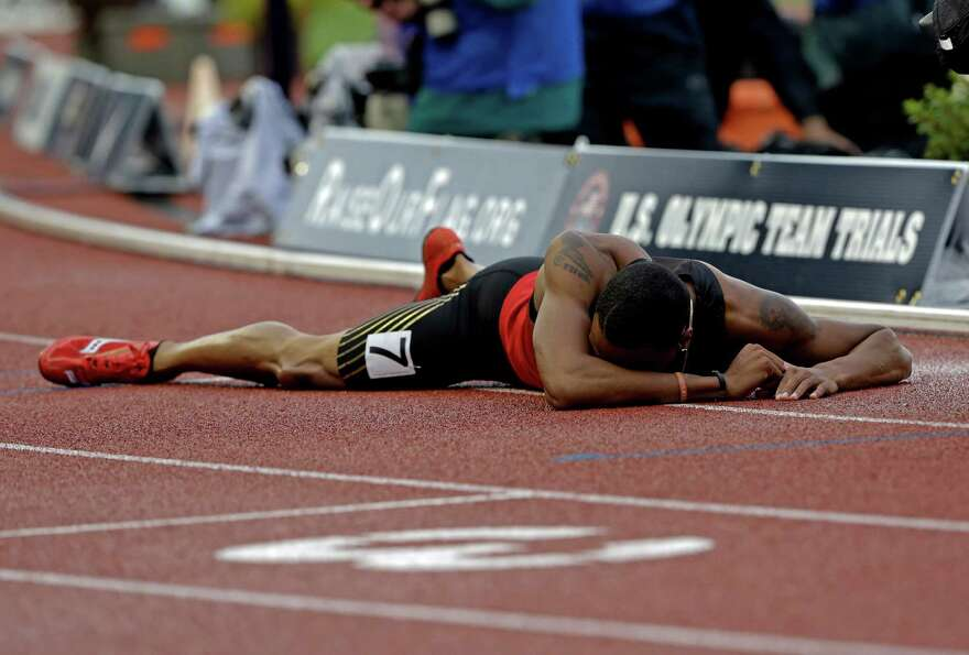 Duane Solomon Jr., reacts after the men's 800m finals at the U.S. Olympic Track and Field Trials Mon