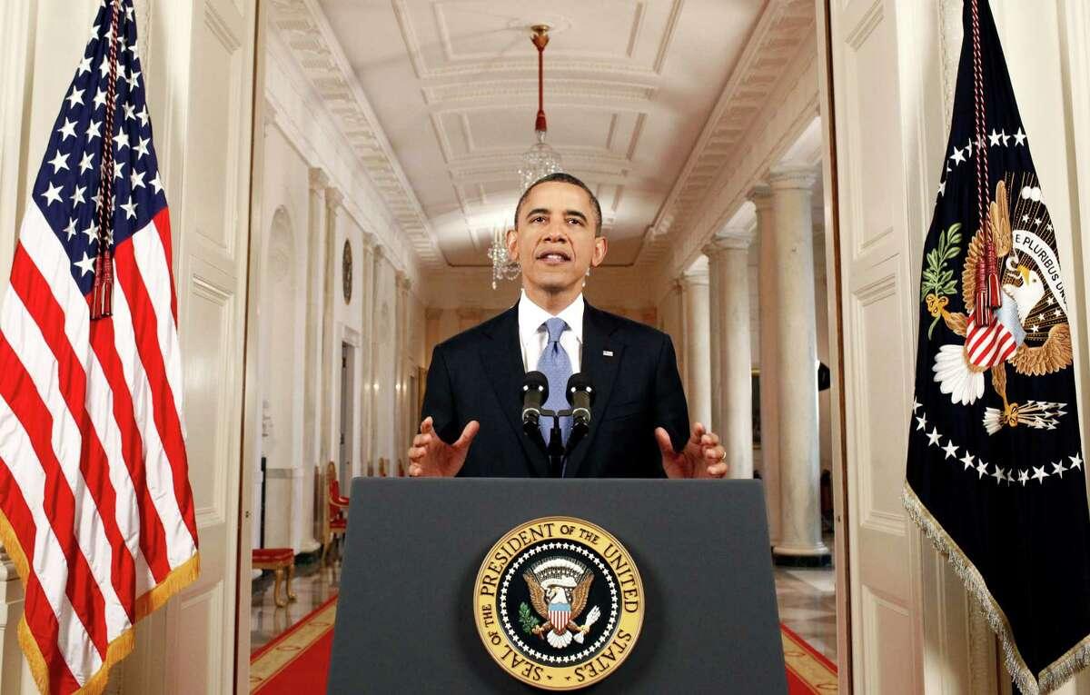 President Barack Obama speaks in the East Room of the White House in Washington, Thursday, June 28, 2012, after the Supreme Court ruled on his health care legislation. (AP Photo/Luke Sharrett pool)