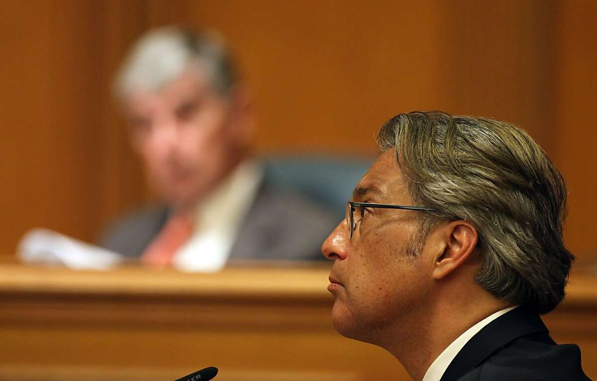 Ross Mirkarimi is questioned during his Ethics Commission hearing at San Francisco City Hall Thursday June 28, 2012 in San Francisco Calif.