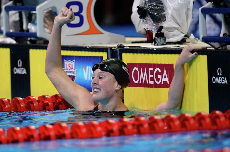 Allison Schmitt celebrates after she won the championship final of the Women's 200 m Freestyle during Day Four of the 2012 U.S. Olympic Swimming Team Trials at CenturyLink Center on June 28, 2012 in Omaha, Nebraska. Photo: Jamie Squire, Getty Images / 2012 Getty Images