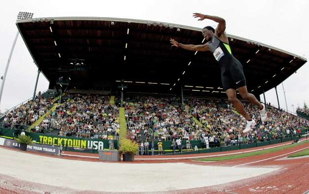 Zedric Thomas competes in the triple jump at the U.S. Olympic Track and Field Trials Thursday, June 28, 2012, in Eugene, Ore. Thomas placed twelfth. (AP Photo/Matt Slocum) Photo: Associated Press