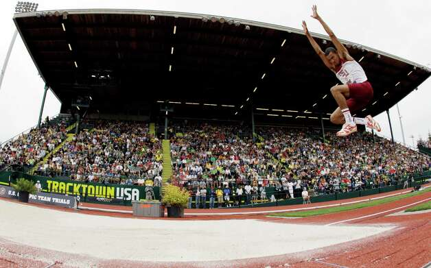 Phillip Young competes in the triple jump at the U.S. Olympic Track and Field Trials Thursday, June 28, 2012, in Eugene, Ore. Young placed 22nd.  (AP Photo/Matt Slocum) Photo: Associated Press