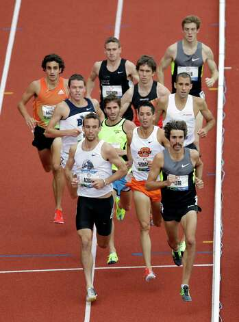 The athletes competes in the second heat of the men�s 1500 meters qualifying round at the U.S. Olympic Track and Field Trials Thursday, June 28, 2012, in Eugene, Ore. William Leer finished first. (AP Photo/Marcio Jose Sanchez) Photo: Associated Press