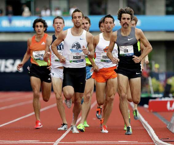 The athletes competes in the second heat of the men�s 1500 meters qualifying round at the U.S. Olympic Track and Field Trials Thursday, June 28, 2012, in Eugene, Ore. William Leer finished first. (AP Photo/Eric Gay) Photo: Associated Press