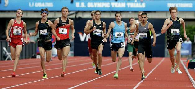 The athletes competes in the first heat of the men�s 1500 meters qualifying round at the U.S. Olympic Track and Field Trials Thursday, June 28, 2012, in Eugene, Ore. Craig Miller, far right, David Torrence, second from right, and Matthew Centrowitz, center, finished first, second and third. (AP Photo/Eric Gay) Photo: Associated Press