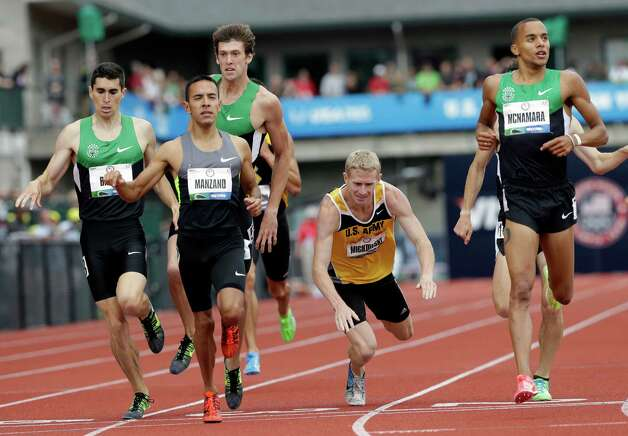 John Mickowski stumbles at the finish of the third heat of the men's 1500 meter qualifying at the U.S. Olympic Track and Field Trials Thursday, June 28, 2012, in Eugene, Ore. (AP Photo/Eric Gay) Photo: Associated Press