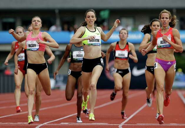 Morgan Uceny, from right, Gabriele Anderson and Katherine Mackey cross the finish line during the women's 1500 meter qualifying at the U.S. Olympic Track and Field Trials Thursday, June 28, 2012, in Eugene, Ore. (AP Photo/Eric Gay) Photo: Associated Press