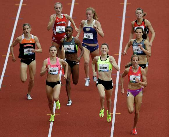 Morgan Uceny leads the pack during the women's 1500 meter qualifying at the U.S. Olympic Track and Field Trials Thursday, June 28, 2012, in Eugene, Ore. (AP Photo/Marcio Jose Sanchez) Photo: Associated Press