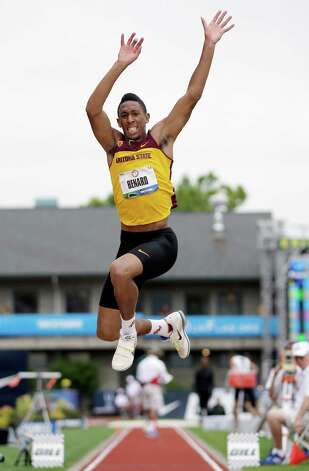 Chris Benard competes during the triple jump qualifying at the U.S. Olympic Track and Field Trials Thursday, June 28, 2012, in Eugene, Ore. Benard place sixth. (AP Photo/Matt Slocum) Photo: Associated Press