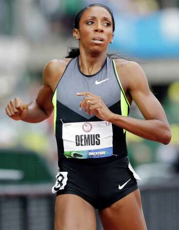Lashinda Demus finishes first in her heat during the 400 meter hurdles qualifying at the U.S. Olympic Track and Field Trials Thursday, June 28, 2012, in Eugene, Ore. (AP Photo/Eric Gay) Photo: Associated Press