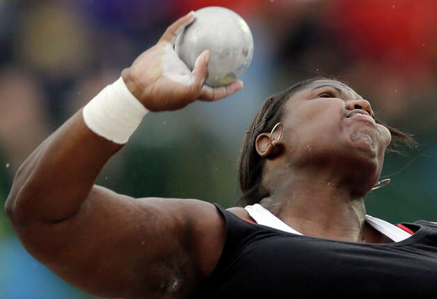 NIa Henderson competes in the women�s shot put qualifying round  at the U.S. Olympic Track and Field Trials Thursday, June 28, 2012, in Eugene, Ore. (AP Photo/Matt Slocum) Photo: Associated Press